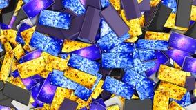 Nowożytni pełnego ekranu mądrze telefony jako tło 3d odpłacają się ilustracja wektor