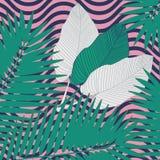 Nowożytni tropikalni liście deseniują geometrycznego, wielkiego projekt dla jakaś, zamierzają nowożytny tło projekt Tekstylny pro ilustracji