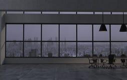 Nowożytny biurowy wnętrze w opóźnionym wieczór 3 d czynią obraz stock