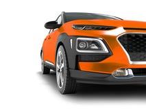 Nowożytny pomarańczowy samochodowy skrzyżowanie dla podróży z czarnymi insets w przodzie 3d odpłaca się na białym tle z cieniami royalty ilustracja