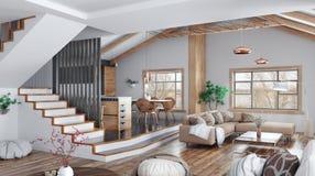 Nowożytny wewnętrzny projekt dom, kuchnia, żywy pokój z kanapą, schody 3d rendering zdjęcie royalty free