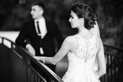 Nowożeńcy chodzą w parku na dniu ślubu Państwo młodzi Cieszy się przy dniem ślubu pogodna pogoda obrazy royalty free
