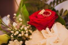Nowożeńcy stawiający pierścionek Zdjęcie Stock