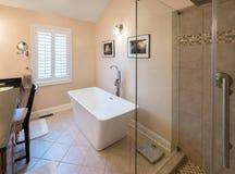 Nowożytna łazienka z freestanding prysznic i balią zdjęcie royalty free