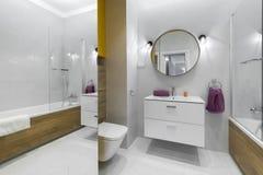 Nowożytna łazienka z owalu lustrem fotografia stock