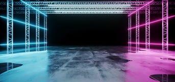 Nowożytna Abstrakcjonistyczna Sci Fi sceny Futurystyczna budowa Z Neonowym G royalty ilustracja