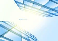 Nowożytna błękitna szklana ściana budynek biurowy Obraz Stock