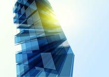 Nowożytna błękitna szklana ściana budynek biurowy Fotografia Royalty Free