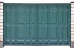 Nowożytna błękitna zieleń forged metal bramy odizolowywać na białym backgroun Obrazy Stock