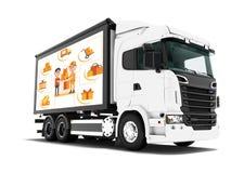 Nowożytna biel ciężarówka dla odtransportowywać towary od sklepu nabywca 3d odpłaca się na białym tle z cieniem ilustracja wektor
