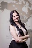 Nowożytna biznesowa kobieta w biurze z kopii przestrzenią, Zamyka w górę pora Obrazy Stock