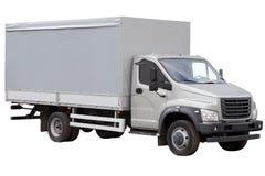 Nowożytna ciężarówka z popielatym namiotem odizolowywającym na białym tle fotografia royalty free