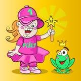 Nowożytna czarodziejka z magiczną różdżką i żabą z koroną Zdjęcie Stock