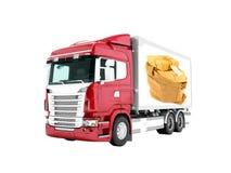 Nowożytna czerwieni ciężarówka z przyczepą z białymi insets dla poczta transpo ilustracja wektor