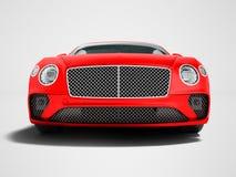 Nowożytna czerwona samochodowa sedan klasa business dla podróży na frontowej pracie 3d royalty ilustracja