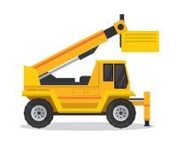 Nowożytna Dźwigowa dźwignięcie ciężarówki budowy pojazdu Płaska ilustracja ilustracji