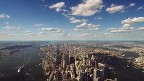 Nowożytna drapacz chmur architektura Nowy Jork w nieprawdopodobnym śmigłowcowym powietrznym ptasiego oka widoku zbiory