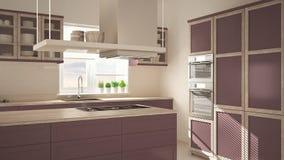 Nowożytna drewniana i czerwona purpurowa kuchnia z wyspą, parkietowa herringbone podłoga, architektury minimalistic wnętrze zdjęcie royalty free