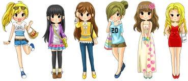 Nowożytna dziewczyny mody kreskówki kolekcja ustawia 1 (wektor) Zdjęcia Royalty Free