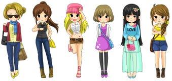 Nowożytna dziewczyny mody kreskówki kolekcja ustawia 2 (wektor) Fotografia Stock