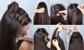 Nowożytna fryzury babeczka z plecenia tutorial obraz royalty free