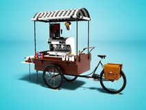 Nowożytna fura z kawową maszyną 3d odpłaca się na błękitnym tło dowcipie ilustracji