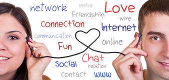 Nowożytna komunikacja, online miłość Zdjęcie Stock