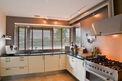 Nowożytna kuchnia z nierdzewną kuchenką i drewnianą podłoga Obrazy Stock