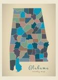 Nowożytna mapa - Alabama coloured okręg administracyjny mapy usa ilustracji