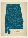 Nowożytna mapa - Alabama okręgu administracyjnego mapy usa ilustracja Fotografia Stock