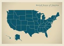 Nowożytna mapa - usa z państwami federalnymi ilustracji