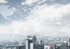 Nowożytna miasta i socjalny sieć jako pojęcie dla globalnego networking obrazy stock