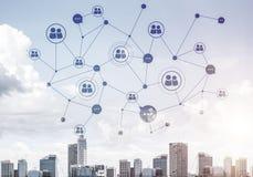 Nowożytna miasta i socjalny sieć jako pojęcie dla globalnego networking royalty ilustracja
