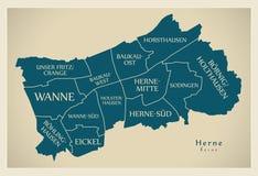 Nowożytna miasto mapa - Herne Niemcy z podgrodziami i tytułami miasto Fotografia Royalty Free