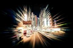 Nowożytna miasto ruchu plama hong kong Abstrakcjonistyczny pejzażu miejskiego ruch drogowy Obraz Royalty Free