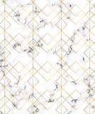Nowożytna minimalistyczna bielu marmuru tekstura z złocistymi geometrycznymi liniami, rhombus i trójboka wzorem, Tło dla projekta royalty ilustracja