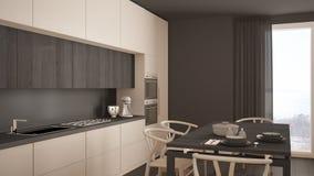 Nowożytna minimalna biała kuchnia z drewnianą podłoga, klasyczny wnętrze Obraz Royalty Free