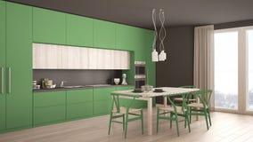 Nowożytna minimalna zielona kuchnia z drewnianą podłoga, klasyczny wnętrze Zdjęcia Stock