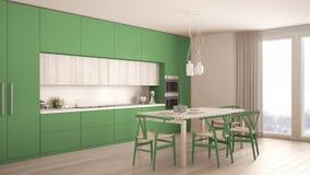 Nowożytna minimalna zielona kuchnia z drewnianą podłoga, klasyczny wnętrze Obrazy Stock