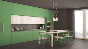 Nowożytna minimalna zielona kuchnia z drewnianą podłoga, klasyczny wnętrze Obraz Royalty Free