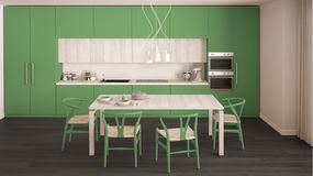 Nowożytna minimalna zielona kuchnia z drewnianą podłoga, klasyczny wnętrze Zdjęcia Royalty Free