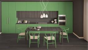 Nowożytna minimalna zielona kuchnia z drewnianą podłoga, klasyczny wnętrze Obrazy Royalty Free