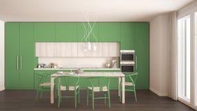 Nowożytna minimalna zielona kuchnia z drewnianą podłoga, klasyczny wnętrze Fotografia Royalty Free
