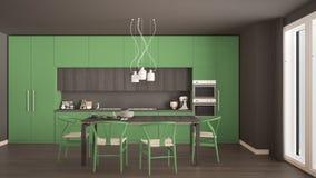 Nowożytna minimalna zielona kuchnia z drewnianą podłoga, klasyczny wnętrze Fotografia Stock