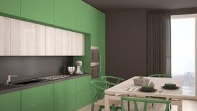 Nowożytna minimalna zielona kuchnia z drewnianą podłoga, klasyczny wnętrze Zdjęcie Stock