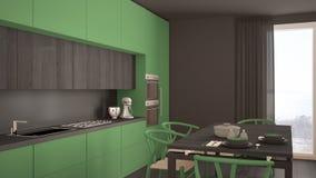 Nowożytna minimalna zielona kuchnia z drewnianą podłoga, klasyczny wnętrze Zdjęcie Royalty Free