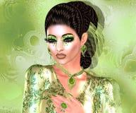 Nowożytna mody, fryzury i piękna scena z morze pianą, zielenieje Obrazy Royalty Free