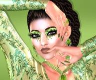 Nowożytna mody, fryzury i piękna scena z morze pianą, zielenieje gradientowego tło Fotografia Stock
