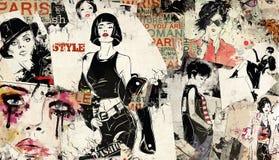 Nowożytna nastoletnia dziewczyna na grunge tle ilustracji