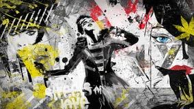 Nowożytna nastoletnia dziewczyna na grunge tle ilustracja wektor